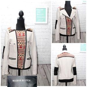 Maison Scotch  boho linen/cotton tribal jacket 2